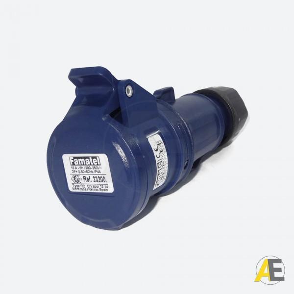 Tomada Industrial 16A - 220/240V - 2P+T 6H - IP44 23200 - Famatel
