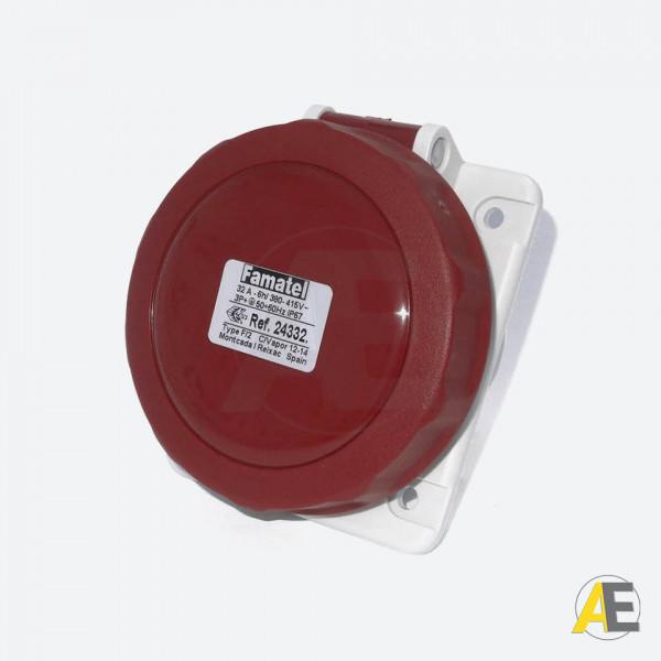 Tomada de Embutir  32A - 380/440V - 3P+T 6H - IP67 24332 - Famatel